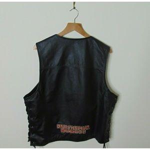 Harley Davidson L Leather Biker Vest Black Cowhide